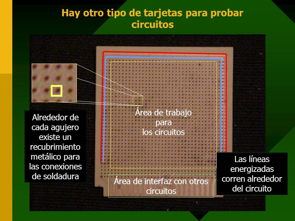 Hay otro tipo de tarjetas para probar circuitos Las líneas energizadas corren alrededor del circuito Área de trabajo para los circuitos Área de interf