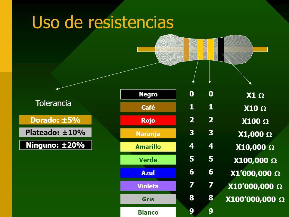 Uso de resistencias X1 X10 X100 X1,000 X10,000 X100,000 X1000,000 X10000,000 X100000,000 01234567890123456789 01234567890123456789 Negro Café Rojo Nar