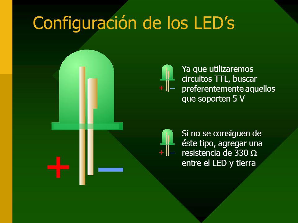 Configuración de los LEDs Ya que utilizaremos circuitos TTL, buscar preferentemente aquellos que soporten 5 V Si no se consiguen de éste tipo, agregar