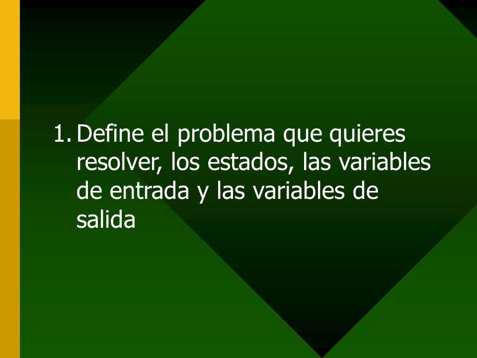 1.Define el problema que quieres resolver, los estados, las variables de entrada y las variables de salida