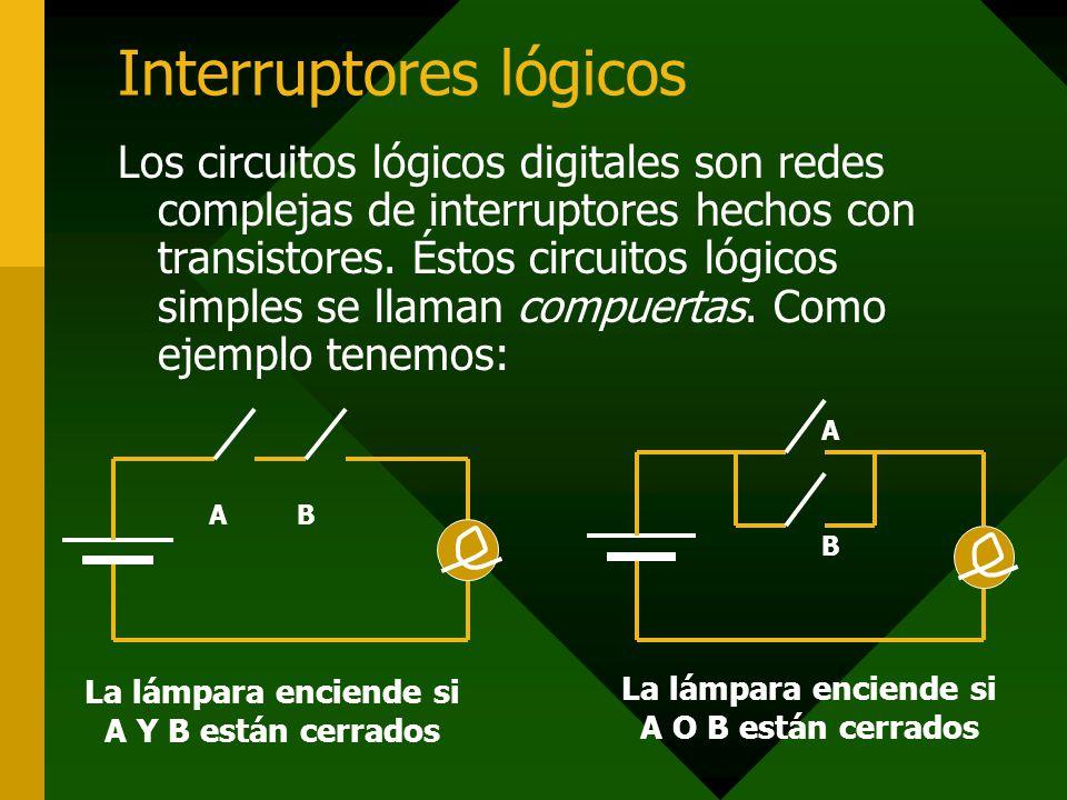 Interruptores lógicos Los circuitos lógicos digitales son redes complejas de interruptores hechos con transistores. Éstos circuitos lógicos simples se