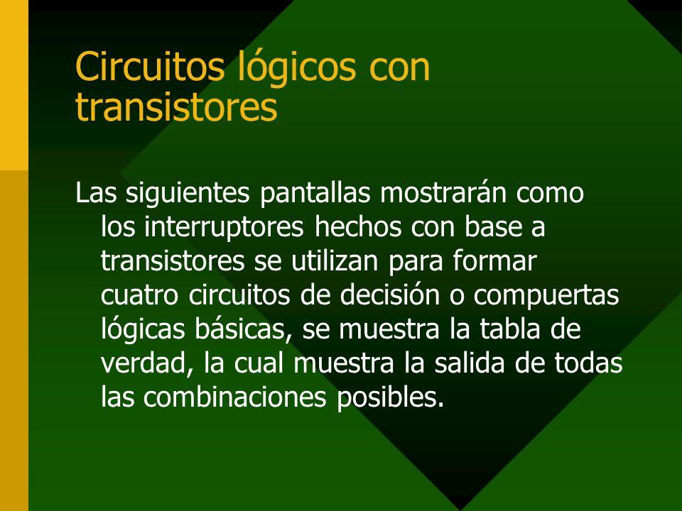 Circuitos lógicos con transistores Las siguientes pantallas mostrarán como los interruptores hechos con base a transistores se utilizan para formar cu