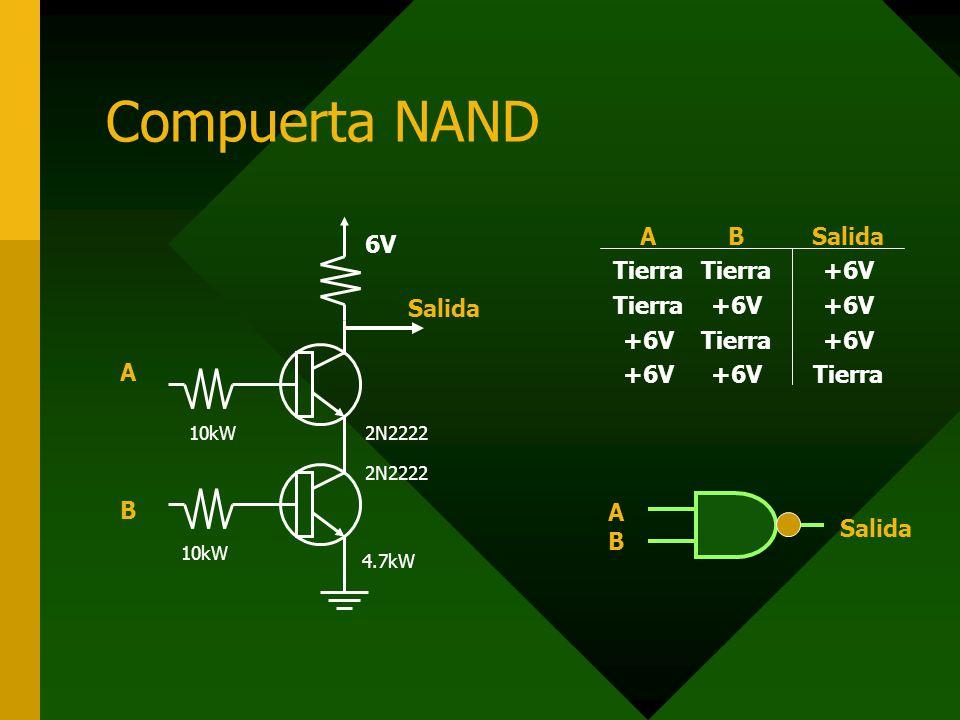 Compuerta NAND ABAB 10kW 4.7kW 2N2222 6V Salida A Tierra +6V B Tierra +6V Tierra +6V Salida +6V Tierra ABAB Salida