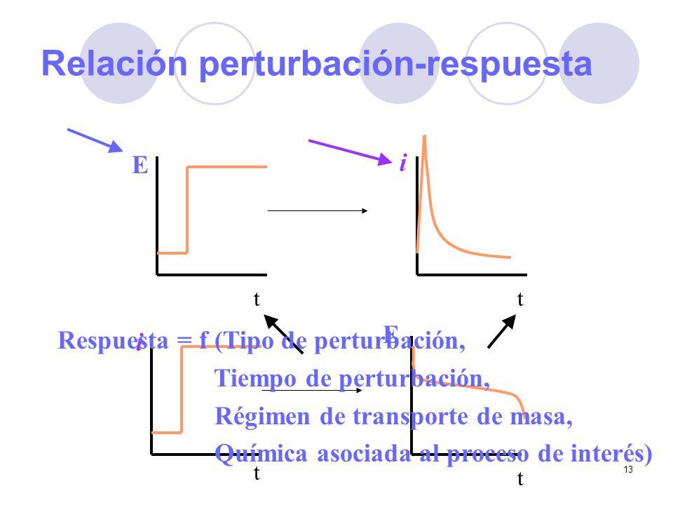 13 Relación perturbación-respuesta E i t t E t i t Respuesta = f (Tipo de perturbación, Tiempo de perturbación, Régimen de transporte de masa, Química