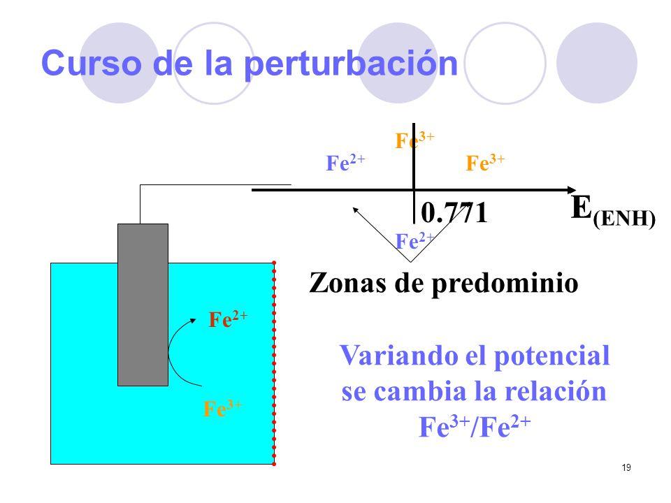 19 Curso de la perturbación Fe 3+ Fe 2+ E Fe 3+ Fe 2+ E (ENH) Zonas de predominio Fe 2+ Fe 3+ 0.771 Variando el potencial se cambia la relación Fe 3+