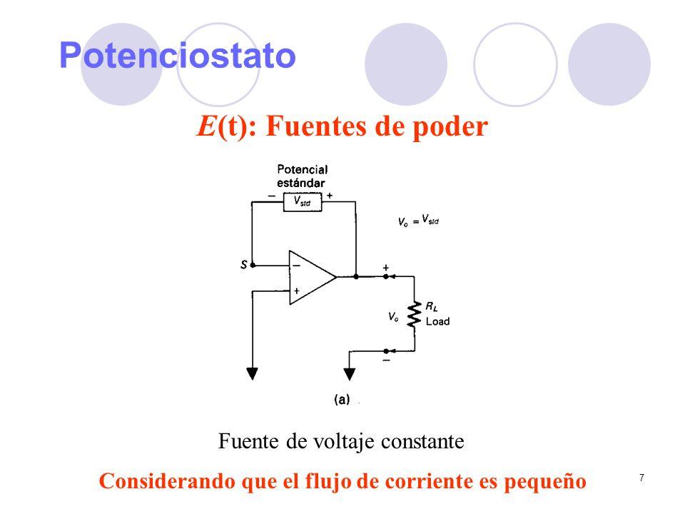 7 Potenciostato E(t): Fuentes de poder Fuente de voltaje constante Considerando que el flujo de corriente es pequeño