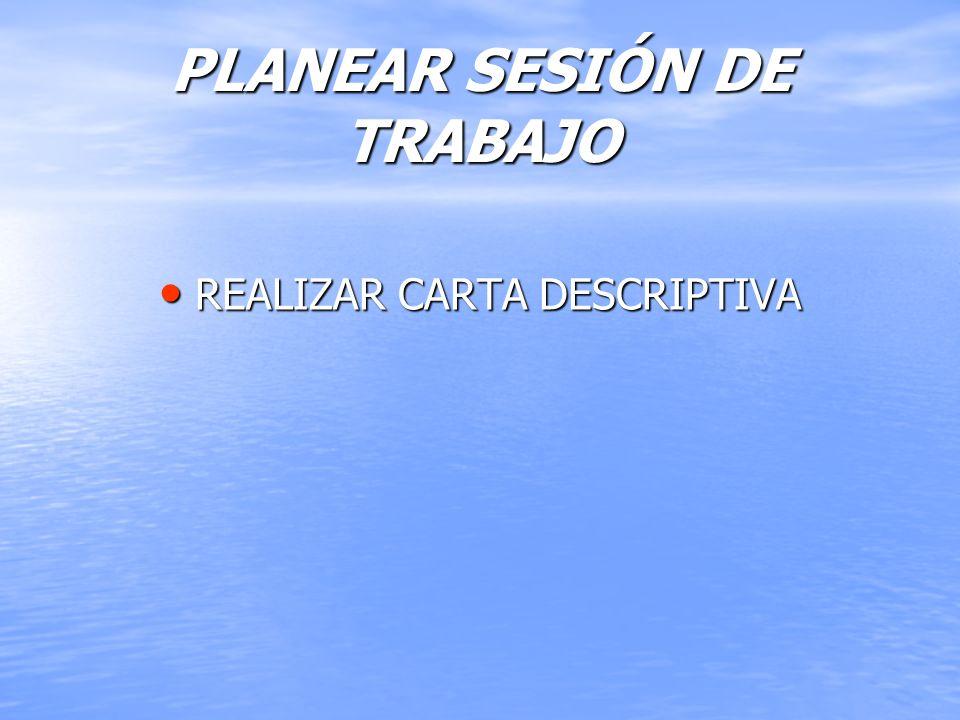 PLANEAR SESIÓN DE TRABAJO REALIZAR CARTA DESCRIPTIVA REALIZAR CARTA DESCRIPTIVA