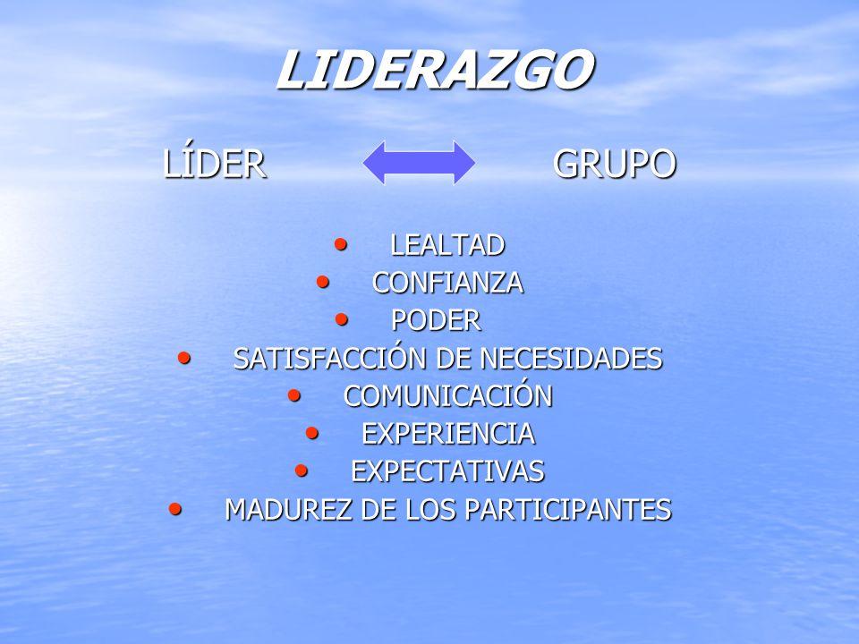 LIDERAZGO LÍDER GRUPO LEALTAD LEALTAD CONFIANZA CONFIANZA PODER PODER SATISFACCIÓN DE NECESIDADES SATISFACCIÓN DE NECESIDADES COMUNICACIÓN COMUNICACIÓ