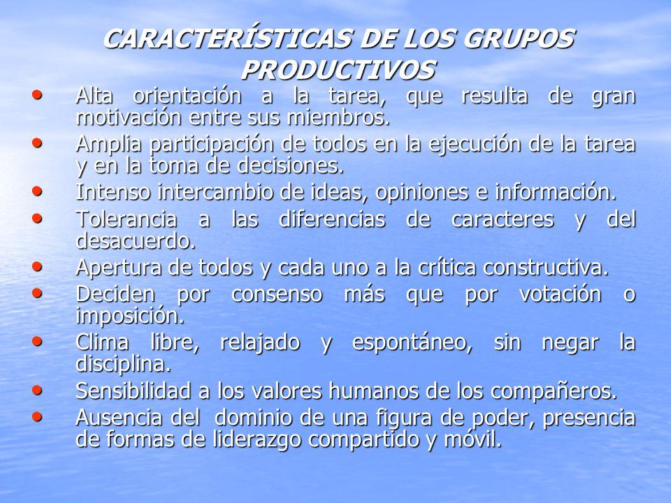 CARACTERÍSTICAS DE LOS GRUPOS PRODUCTIVOS Alta orientación a la tarea, que resulta de gran motivación entre sus miembros. Alta orientación a la tarea,