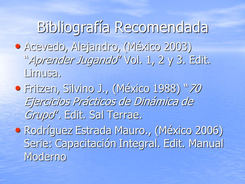 Bibliografía Recomendada Acevedo, Alejandro, (México 2003)Aprender Jugando Vol. 1, 2 y 3. Edit. Limusa. Acevedo, Alejandro, (México 2003)Aprender Juga