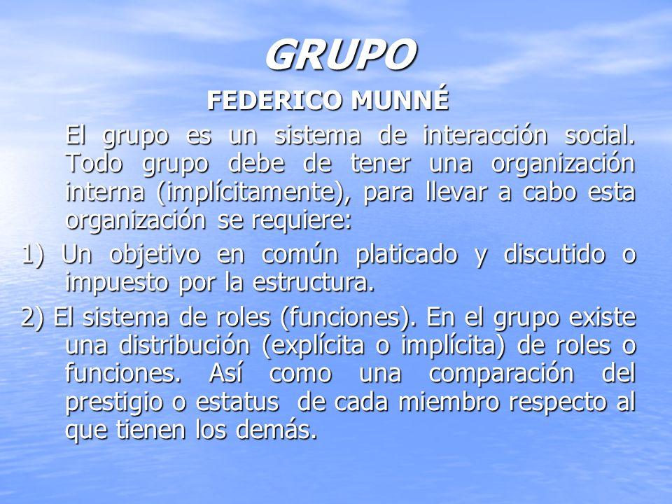 GRUPO FEDERICO MUNNÉ El grupo es un sistema de interacción social. Todo grupo debe de tener una organización interna (implícitamente), para llevar a c