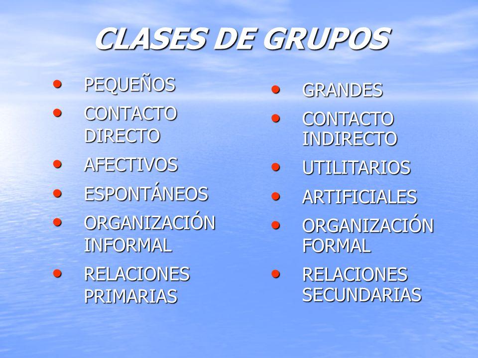 CLASES DE GRUPOS PEQUEÑOS PEQUEÑOS CONTACTO DIRECTO CONTACTO DIRECTO AFECTIVOS AFECTIVOS ESPONTÁNEOS ESPONTÁNEOS ORGANIZACIÓN INFORMAL ORGANIZACIÓN IN