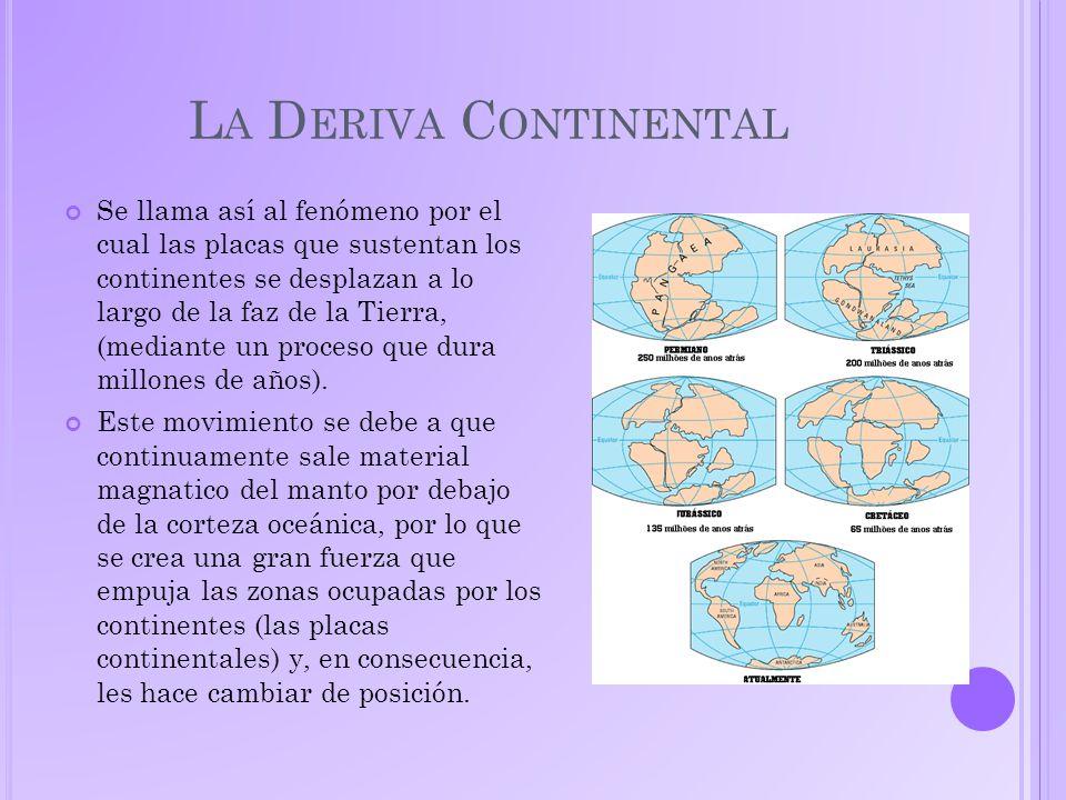 L A D ERIVA C ONTINENTAL Se llama así al fenómeno por el cual las placas que sustentan los continentes se desplazan a lo largo de la faz de la Tierra, (mediante un proceso que dura millones de años).