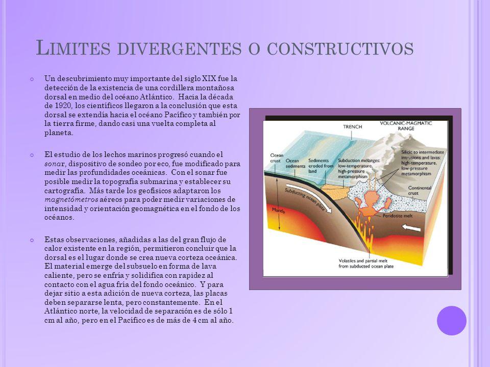 L IMITES DIVERGENTES O CONSTRUCTIVOS Un descubrimiento muy importante del siglo XIX fue la detección de la existencia de una cordillera montañosa dorsal en medio del océano Atlántico.