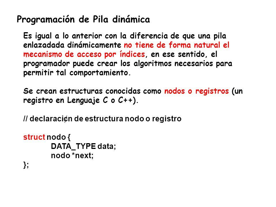 Programación de Pila dinámica Es igual a lo anterior con la diferencia de que una pila enlazadada dinámicamente no tiene de forma natural el mecanismo de acceso por índices, en ese sentido, el programador puede crear los algoritmos necesarios para permitir tal comportamiento.