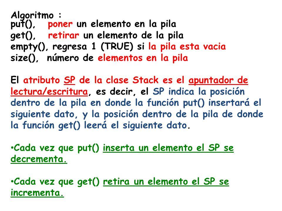 Algoritmo : put(), poner un elemento en la pila get(), retirar un elemento de la pila empty(), regresa 1 (TRUE) si la pila esta vacia size(), número de elementos en la pila El atributo SP de la clase Stack es el apuntador de lectura/escritura, es decir, el SP indica la posición dentro de la pila en donde la función put() insertará el siguiente dato, y la posición dentro de la pila de donde la función get() leerá el siguiente dato.