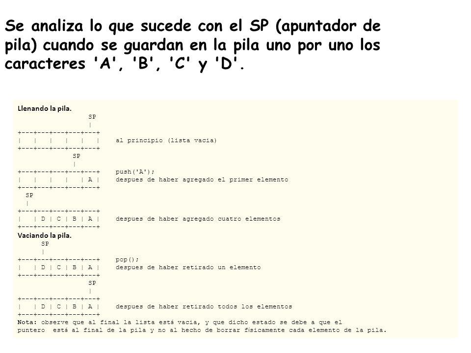 Se analiza lo que sucede con el SP (apuntador de pila) cuando se guardan en la pila uno por uno los caracteres 'A', 'B', 'C' y 'D'. Llenando la pila.