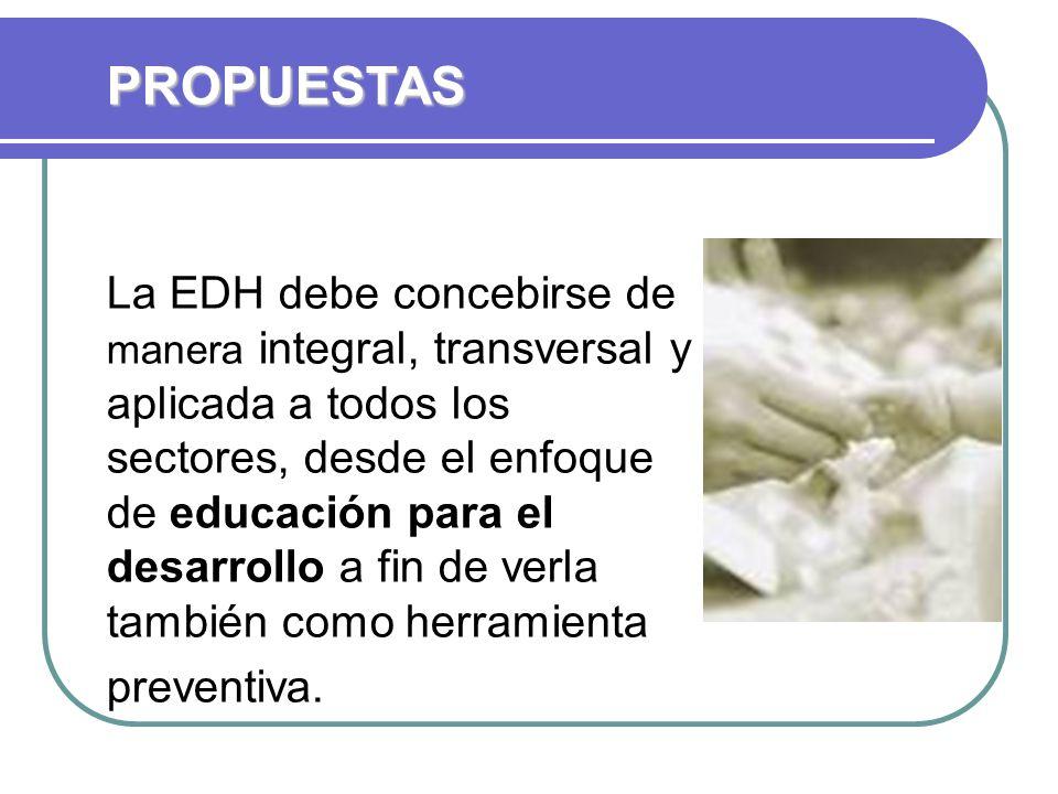 La EDH debe concebirse de manera integral, transversal y aplicada a todos los sectores, desde el enfoque de educación para el desarrollo a fin de verla también como herramienta preventiva.