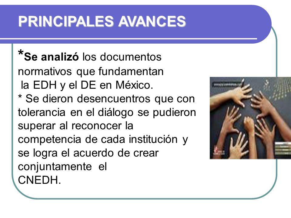 * Se analizó los documentos normativos que fundamentan la EDH y el DE en México.