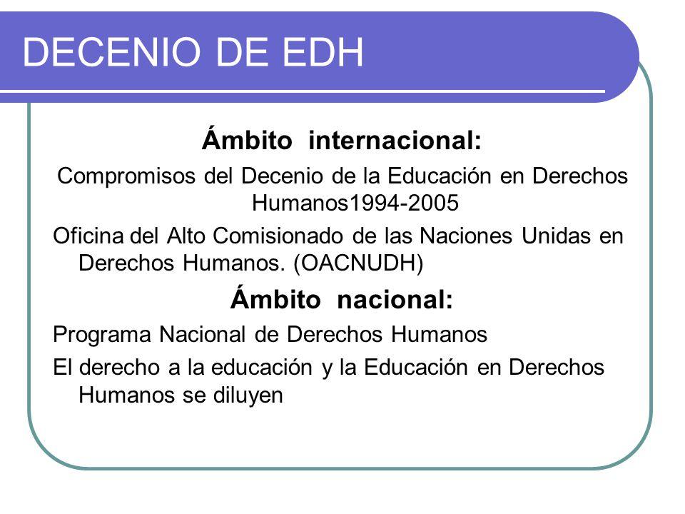 DECENIO DE EDH Ámbito internacional: Compromisos del Decenio de la Educación en Derechos Humanos1994-2005 Oficina del Alto Comisionado de las Naciones Unidas en Derechos Humanos.