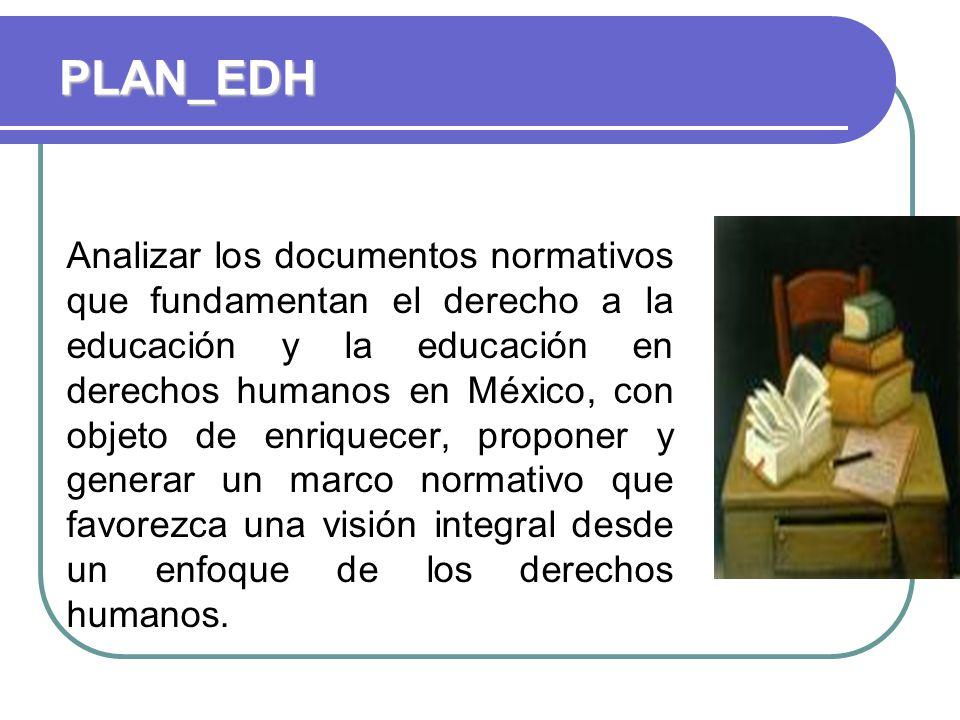 Analizar los documentos normativos que fundamentan el derecho a la educación y la educación en derechos humanos en México, con objeto de enriquecer, proponer y generar un marco normativo que favorezca una visión integral desde un enfoque de los derechos humanos.