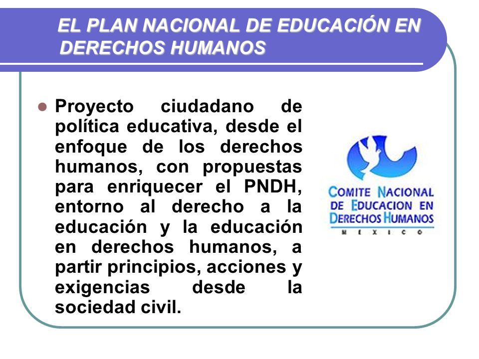 EL PLAN NACIONAL DE EDUCACIÓN EN DERECHOS HUMANOS EL PLAN NACIONAL DE EDUCACIÓN EN DERECHOS HUMANOS Proyecto ciudadano de política educativa, desde el enfoque de los derechos humanos, con propuestas para enriquecer el PNDH, entorno al derecho a la educación y la educación en derechos humanos, a partir principios, acciones y exigencias desde la sociedad civil.