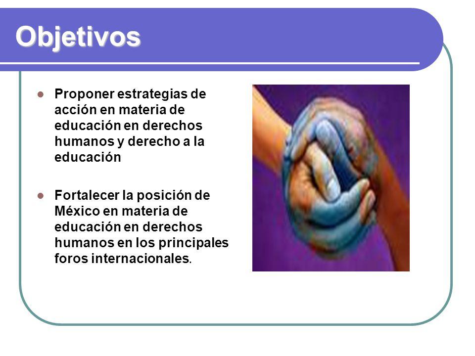 Objetivos Proponer estrategias de acción en materia de educación en derechos humanos y derecho a la educación Fortalecer la posición de México en materia de educación en derechos humanos en los principales foros internacionales.