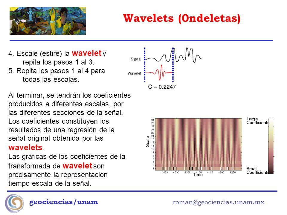 Wavelets (0ndeletas) geociencias/unam roman@geociencias.unam.mx 4. Escale (estire) la wavelet y repita los pasos 1 al 3. 5. Repita los pasos 1 al 4 pa