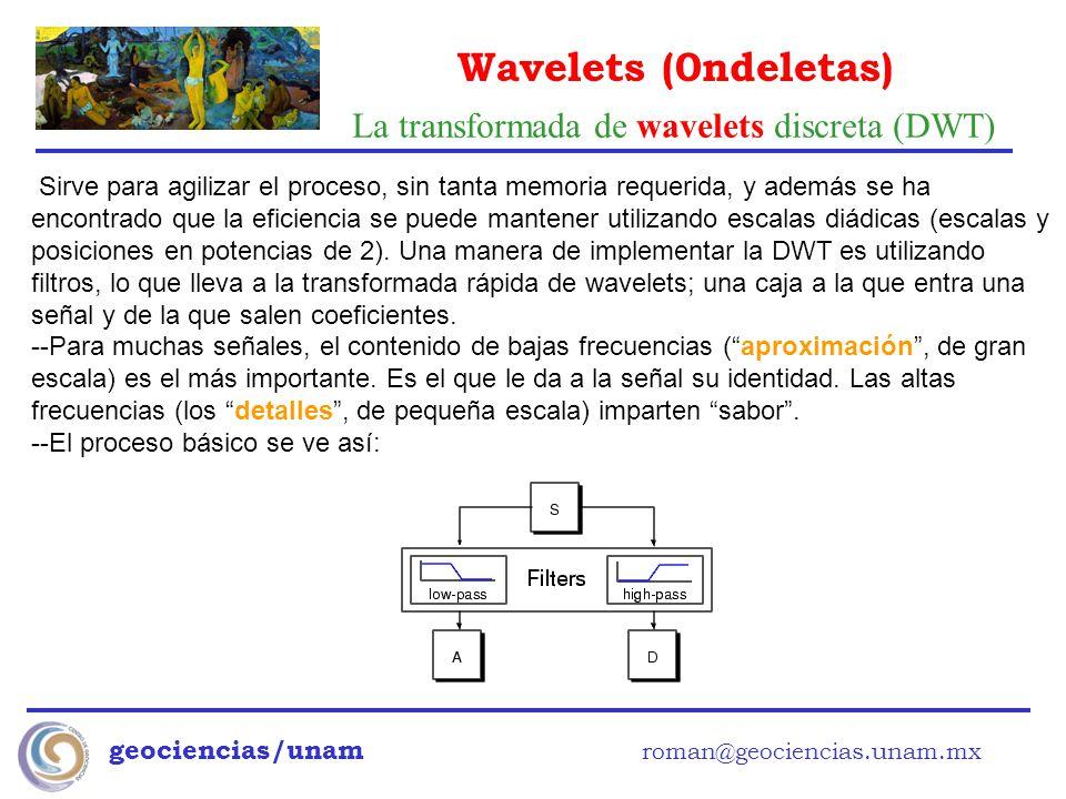 Wavelets (0ndeletas) geociencias/unam roman@geociencias.unam.mx Sirve para agilizar el proceso, sin tanta memoria requerida, y además se ha encontrado