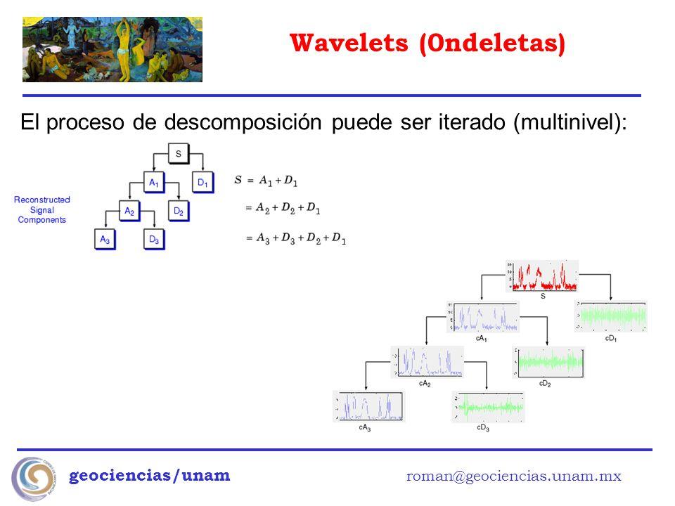 Wavelets (0ndeletas) geociencias/unam roman@geociencias.unam.mx El proceso de descomposición puede ser iterado (multinivel):