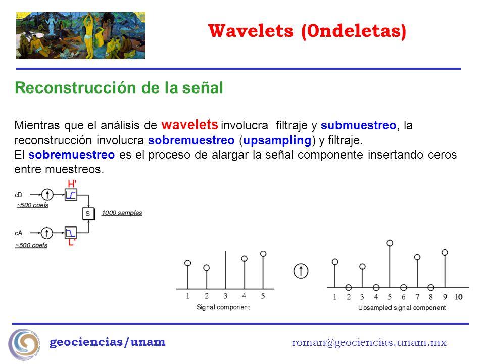 Wavelets (0ndeletas) geociencias/unam roman@geociencias.unam.mx Reconstrucción de la señal Mientras que el análisis de wavelets involucra filtraje y s
