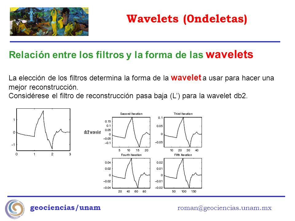 Wavelets (0ndeletas) geociencias/unam roman@geociencias.unam.mx Relación entre los filtros y la forma de las wavelets La elección de los filtros deter