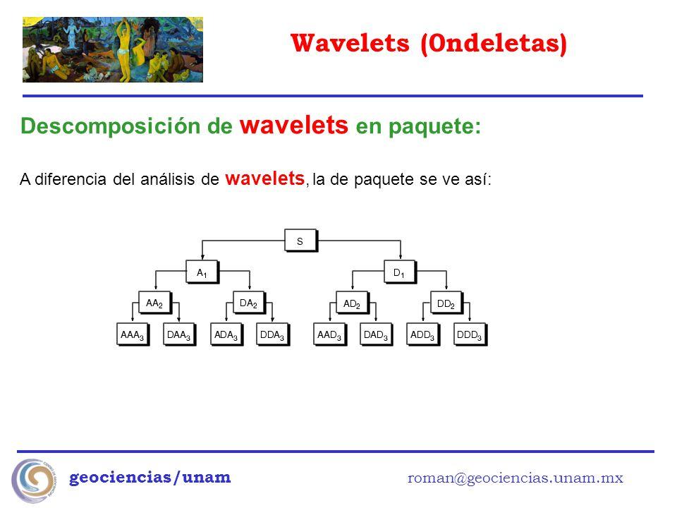 Wavelets (0ndeletas) geociencias/unam roman@geociencias.unam.mx Descomposición de wavelets en paquete: A diferencia del análisis de wavelets, la de pa