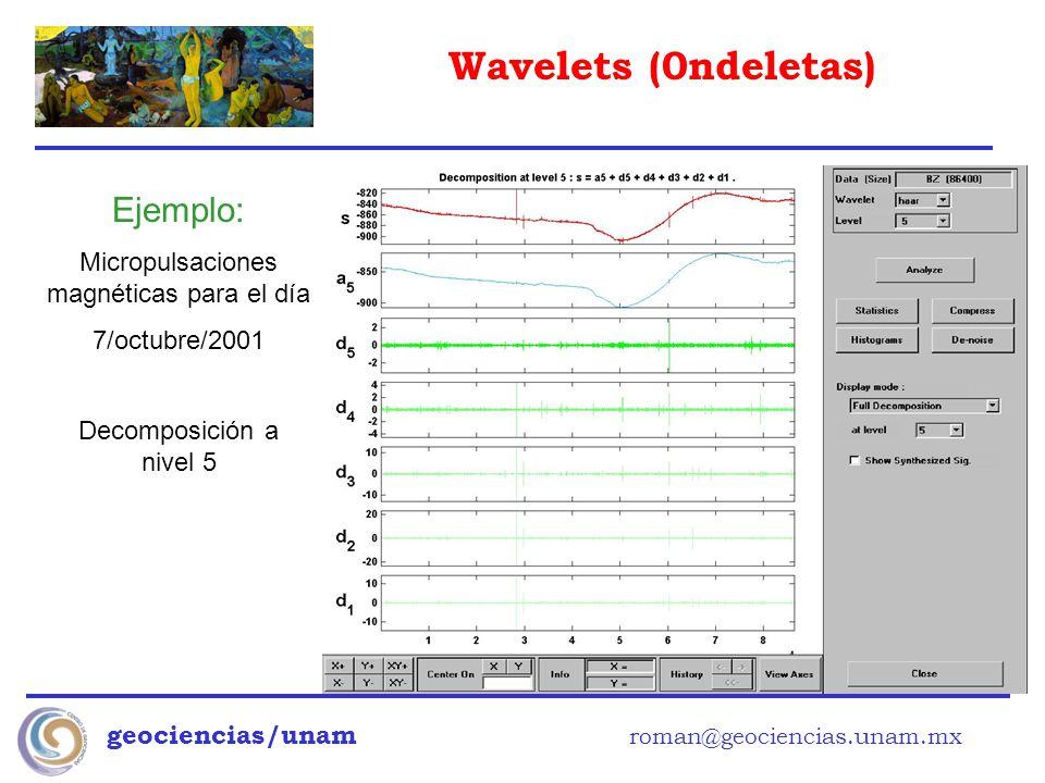 Wavelets (0ndeletas) geociencias/unam roman@geociencias.unam.mx Ejemplo: Micropulsaciones magnéticas para el día 7/octubre/2001 Decomposición a nivel