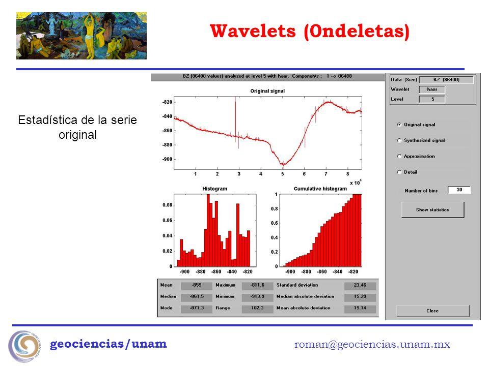 Wavelets (0ndeletas) geociencias/unam roman@geociencias.unam.mx Estadística de la serie original