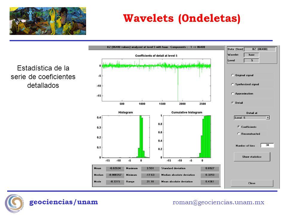 Wavelets (0ndeletas) geociencias/unam roman@geociencias.unam.mx Estadística de la serie de coeficientes detallados