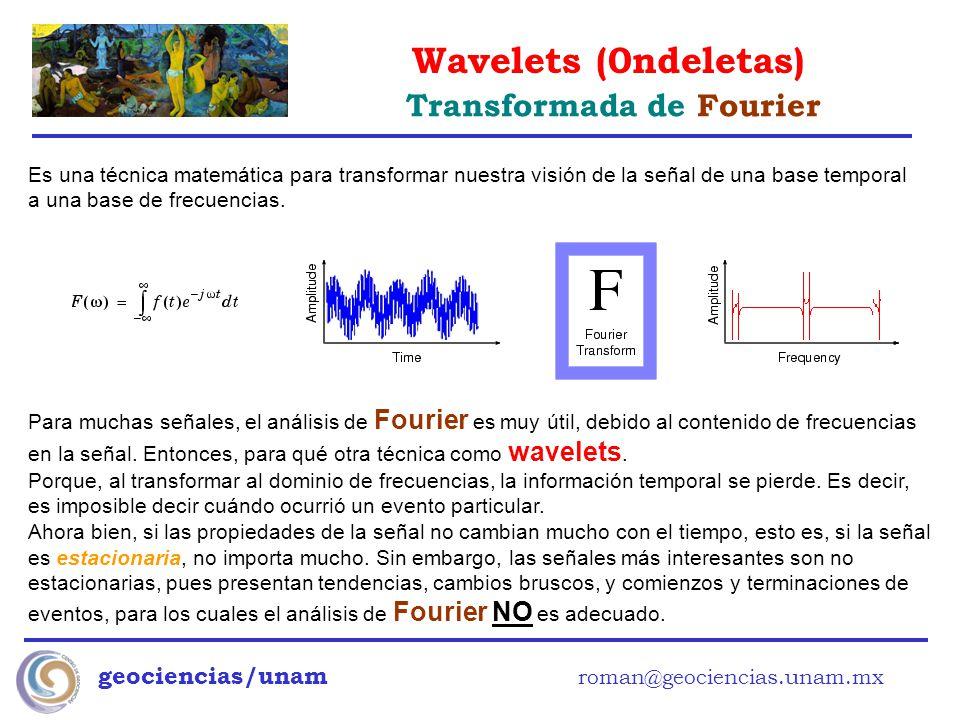 Wavelets (0ndeletas) geociencias/unam roman@geociencias.unam.mx Es una técnica matemática para transformar nuestra visión de la señal de una base temp