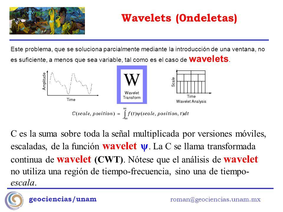 Wavelets (0ndeletas) geociencias/unam roman@geociencias.unam.mx Este problema, que se soluciona parcialmente mediante la introducción de una ventana,