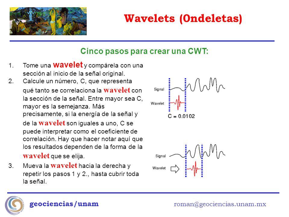 Wavelets (0ndeletas) geociencias/unam roman@geociencias.unam.mx Cinco pasos para crear una CWT: 1.Tome una wavelet y compárela con una sección al inic