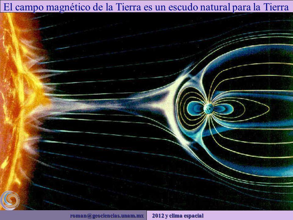roman@geociencias.unam.mx 2012 y clima espacial El campo magnético de la Tierra es un escudo natural para la Tierra
