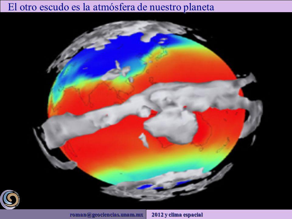 roman@geociencias.unam.mx 2012 y clima espacial El otro escudo es la atmósfera de nuestro planeta