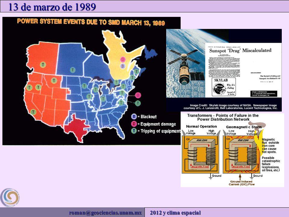 roman@geociencias.unam.mx 2012 y clima espacial 13 de marzo de 1989