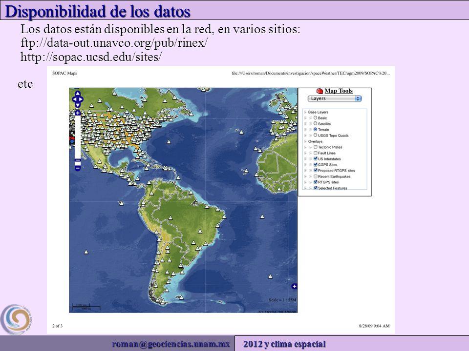 roman@geociencias.unam.mx 2012 y clima espacial Disponibilidad de los datos Los datos están disponibles en la red, en varios sitios: ftp://data-out.unavco.org/pub/rinex/ http://sopac.ucsd.edu/sites/ etc