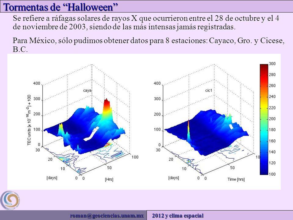 roman@geociencias.unam.mx 2012 y clima espacial Tormentas de Halloween Se refiere a ráfagas solares de rayos X que ocurrieron entre el 28 de octubre y el 4 de noviembre de 2003, siendo de las más intensas jamás registradas.