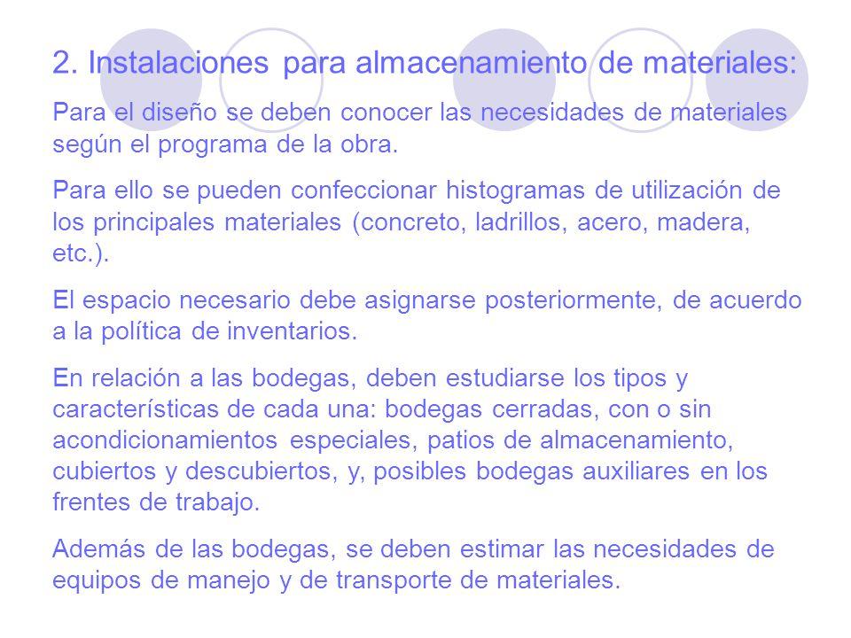2. Instalaciones para almacenamiento de materiales: Para el diseño se deben conocer las necesidades de materiales según el programa de la obra. Para e