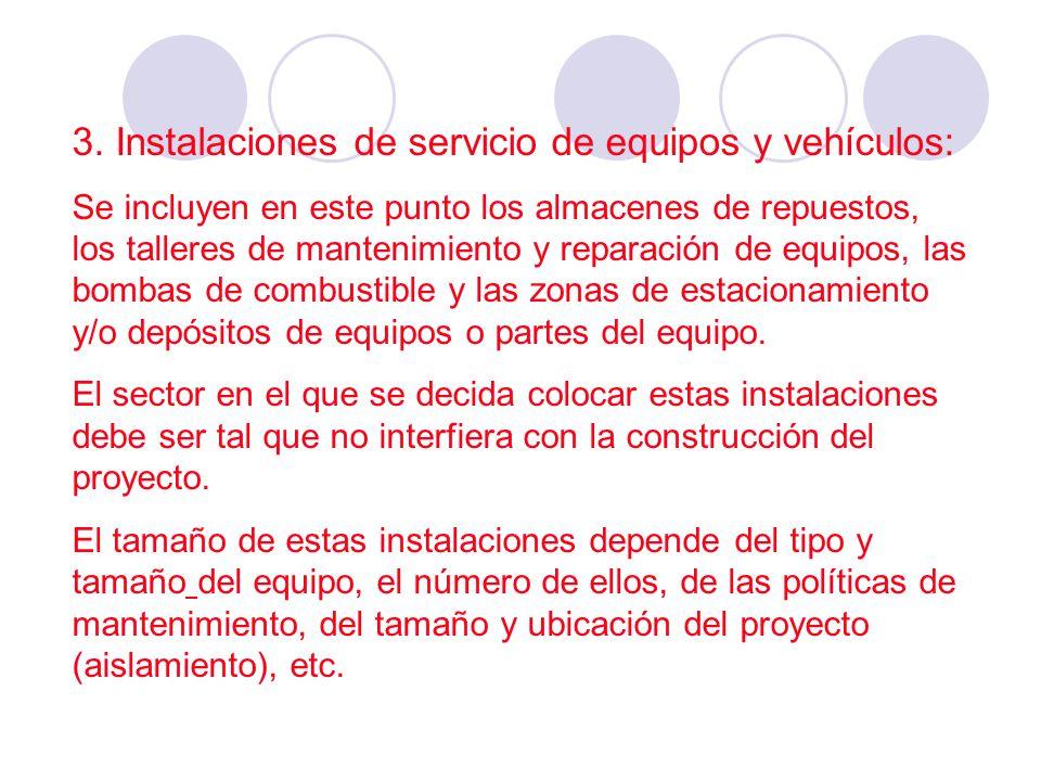 3. Instalaciones de servicio de equipos y vehículos: Se incluyen en este punto los almacenes de repuestos, los talleres de mantenimiento y reparación