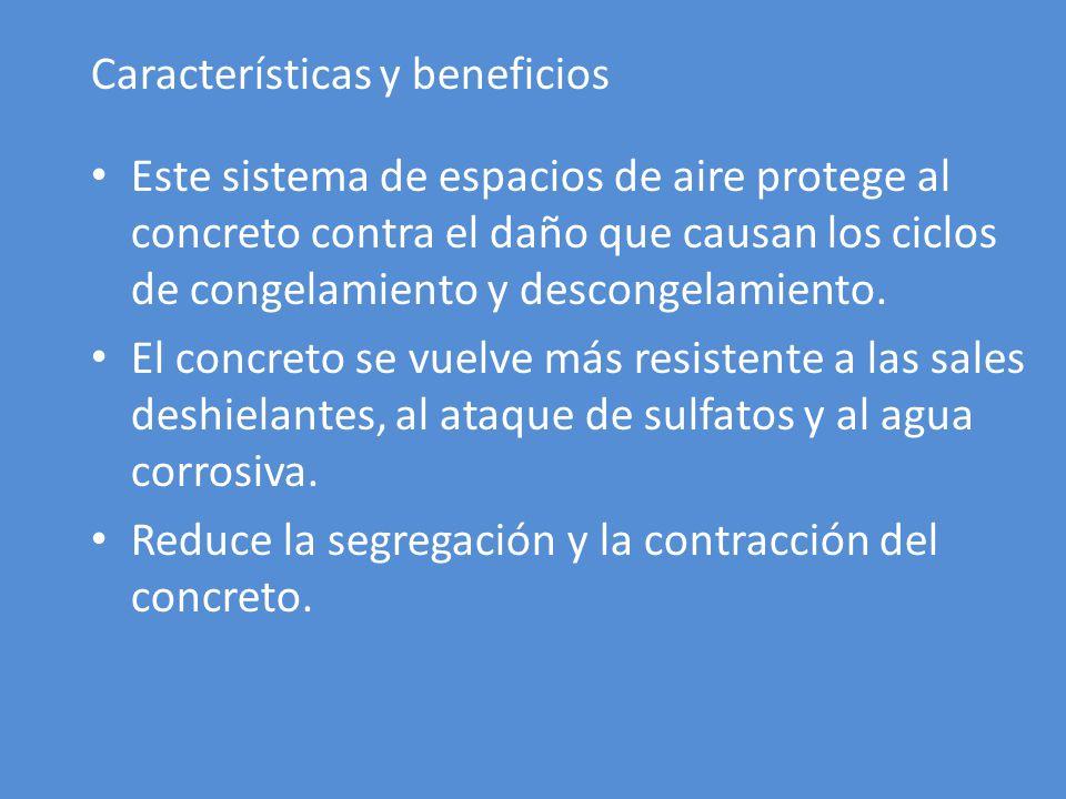 Características y beneficios Este sistema de espacios de aire protege al concreto contra el daño que causan los ciclos de congelamiento y descongelamiento.