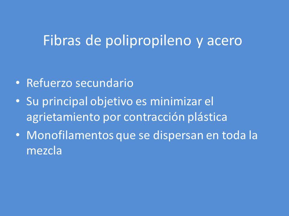 Fibras de polipropileno y acero Refuerzo secundario Su principal objetivo es minimizar el agrietamiento por contracción plástica Monofilamentos que se
