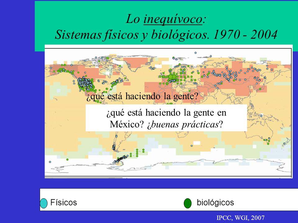 Lo inequívoco: Sistemas físicos y biológicos. 1970 - 2004 Físicosbiológicos IPCC, WGI, 2007 ¿qué está haciendo la gente? ¿qué está haciendo la gente e