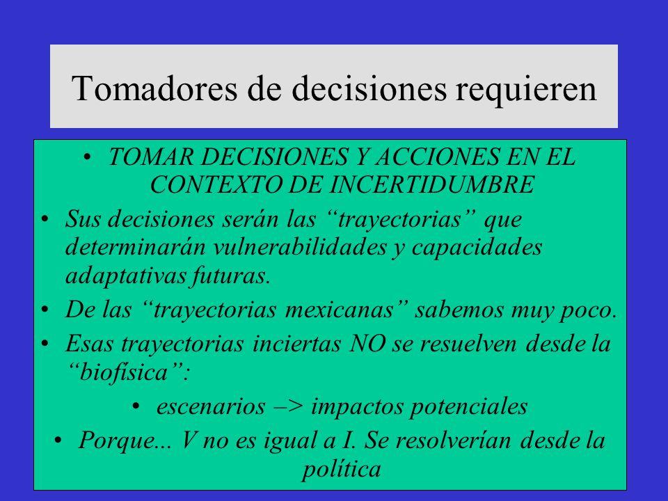 Tomadores de decisiones requieren TOMAR DECISIONES Y ACCIONES EN EL CONTEXTO DE INCERTIDUMBRE Sus decisiones serán las trayectorias que determinarán v